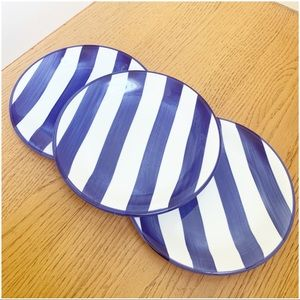 Striped Dessert Small Plates Blue White set of 3